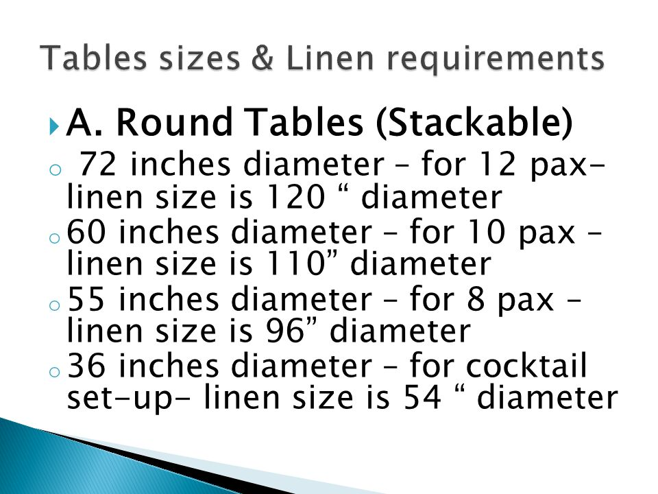 Tables sizes & Linen requirements