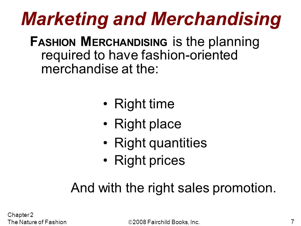 Marketing and Merchandising