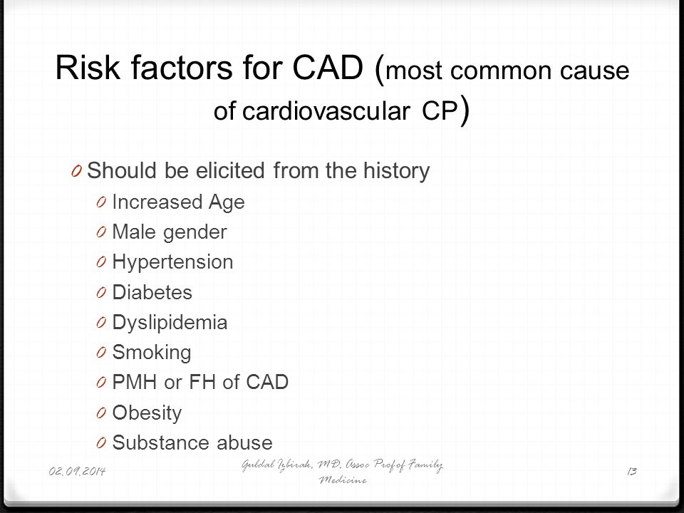 Risk factors for CAD (most common cause of cardiovascular CP)