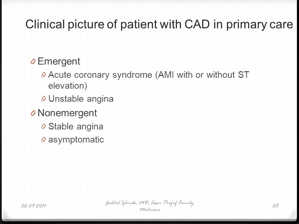 Clinical picture of patient with CAD in primary care