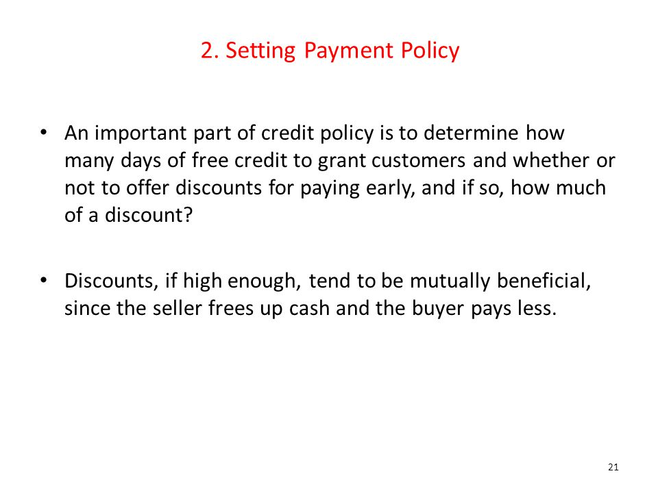 2. Setting Payment Policy