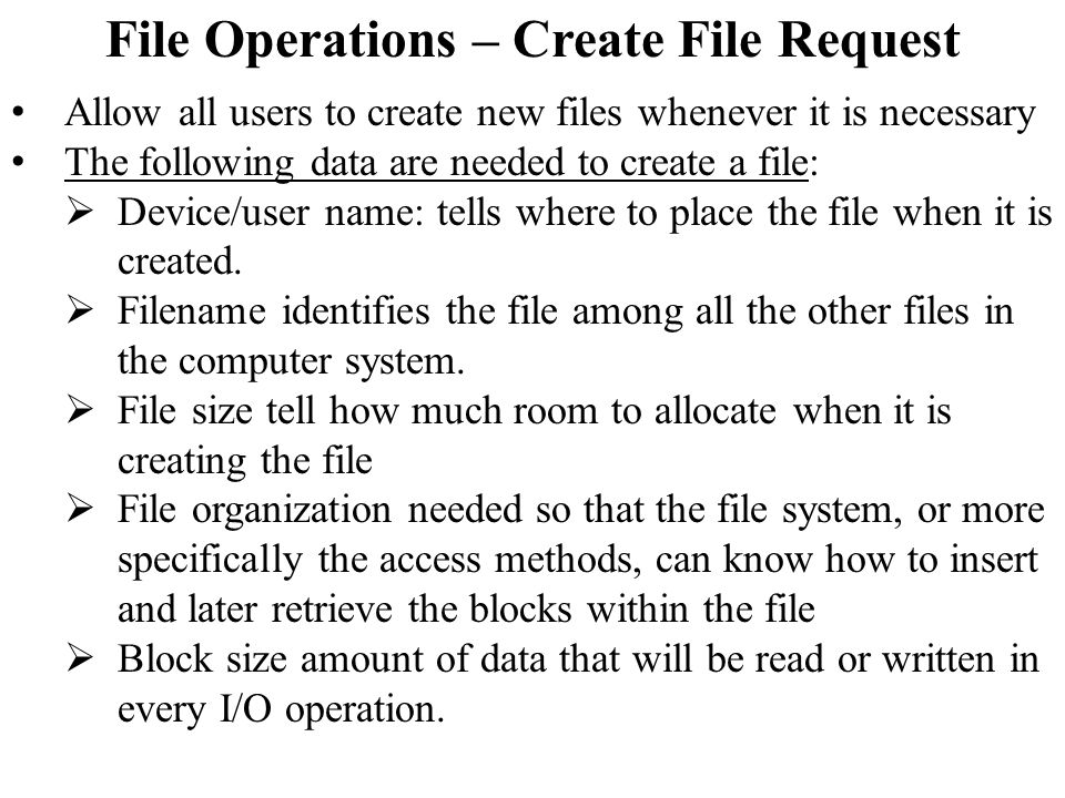 File Operations – Create File Request