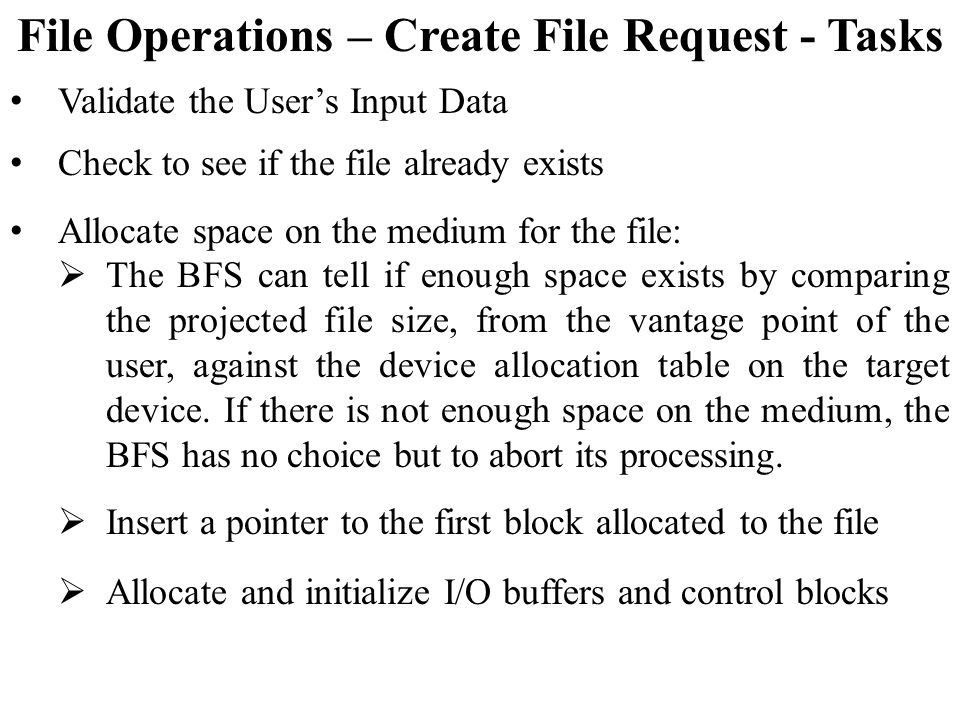 File Operations – Create File Request - Tasks