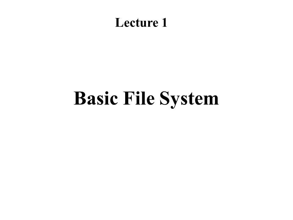 Lecture 1 Basic File System