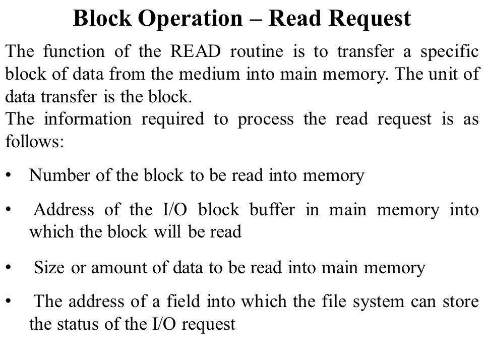 Block Operation – Read Request