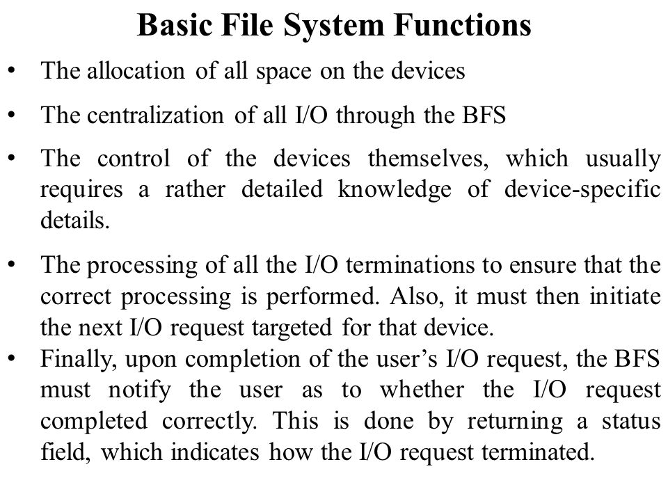 Basic File System Functions
