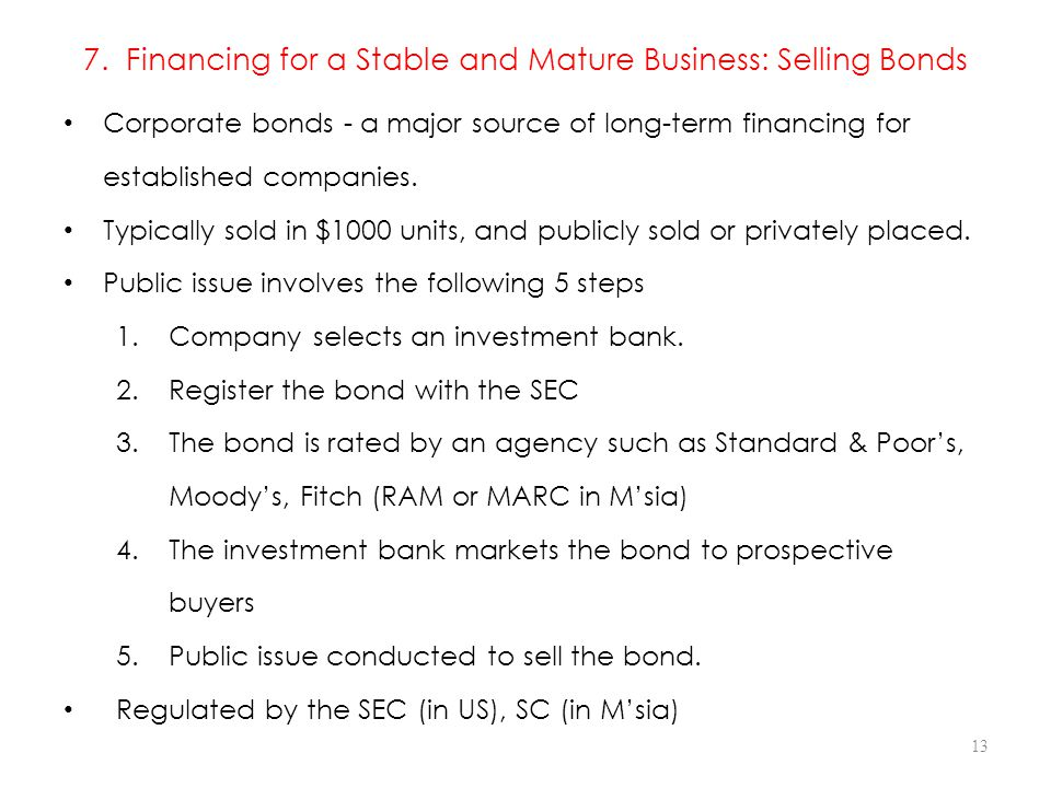 7. Financing for a Stable and Mature Business: Selling Bonds