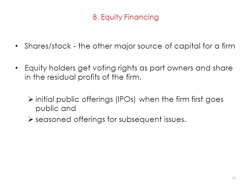 8. Equity Financing Shares/stock - the other major source of capital for a firm.