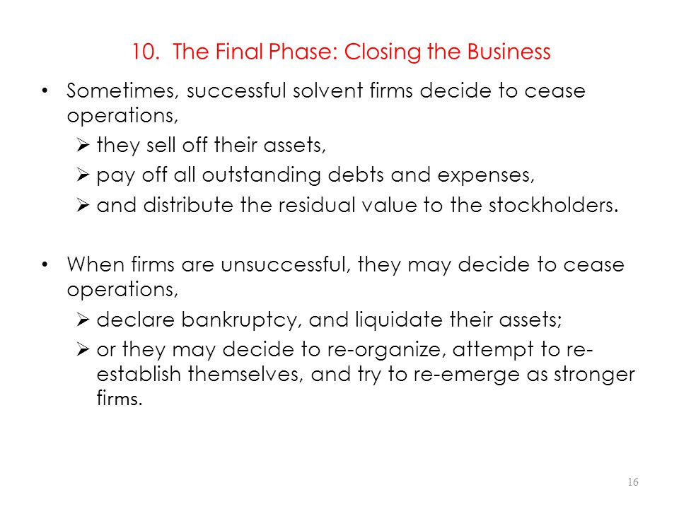 10. The Final Phase: Closing the Business