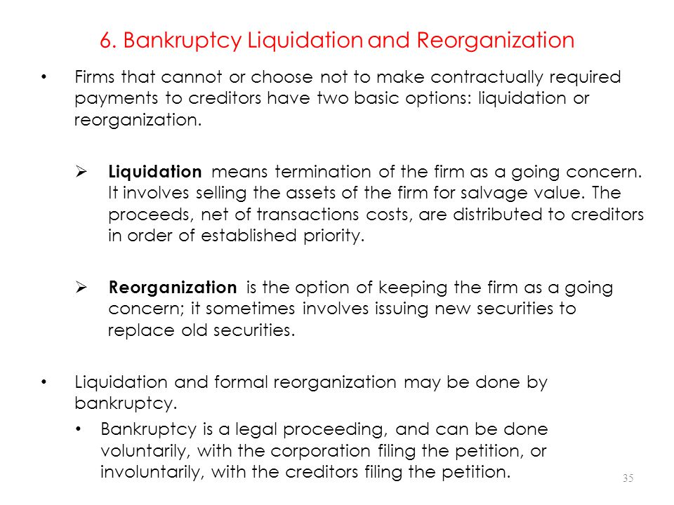 6. Bankruptcy Liquidation and Reorganization