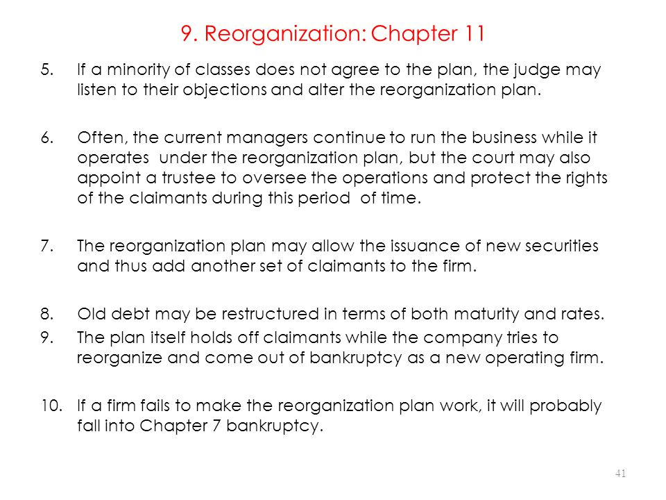 9. Reorganization: Chapter 11