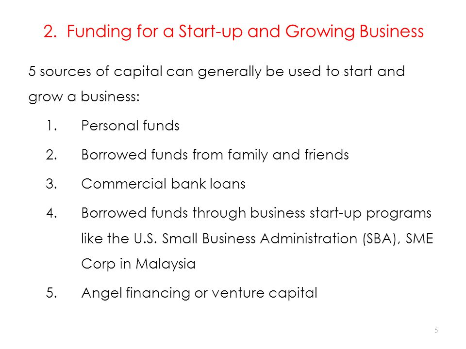 2. Funding for a Start-up and Growing Business