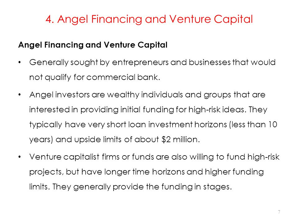4. Angel Financing and Venture Capital