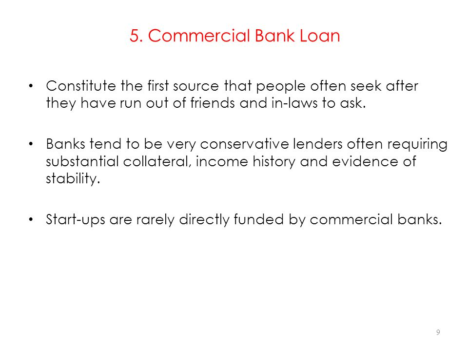5. Commercial Bank Loan Constitute the first source that people often seek after they have run out of friends and in-laws to ask.
