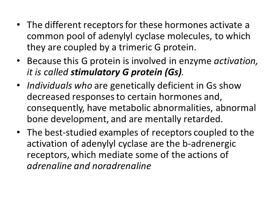 The different receptors for these hormones activate a common pool of adenylyl cyclase molecules, to which they are coupled by a trimeric G protein.