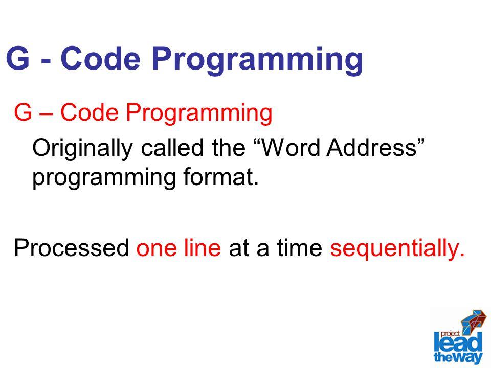 G - Code Programming G – Code Programming
