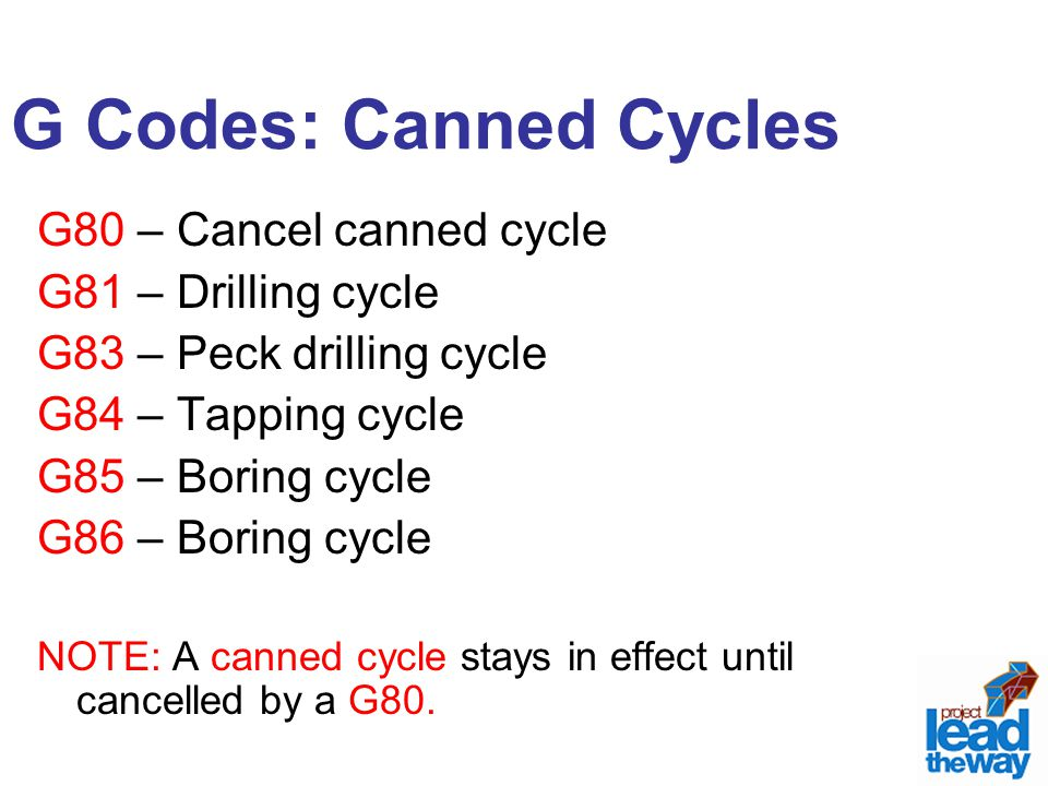 G Codes: Canned Cycles G80 – Cancel canned cycle G81 – Drilling cycle