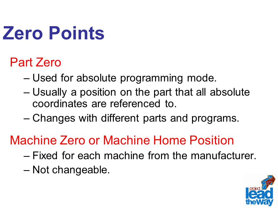 Zero Points Part Zero Machine Zero or Machine Home Position