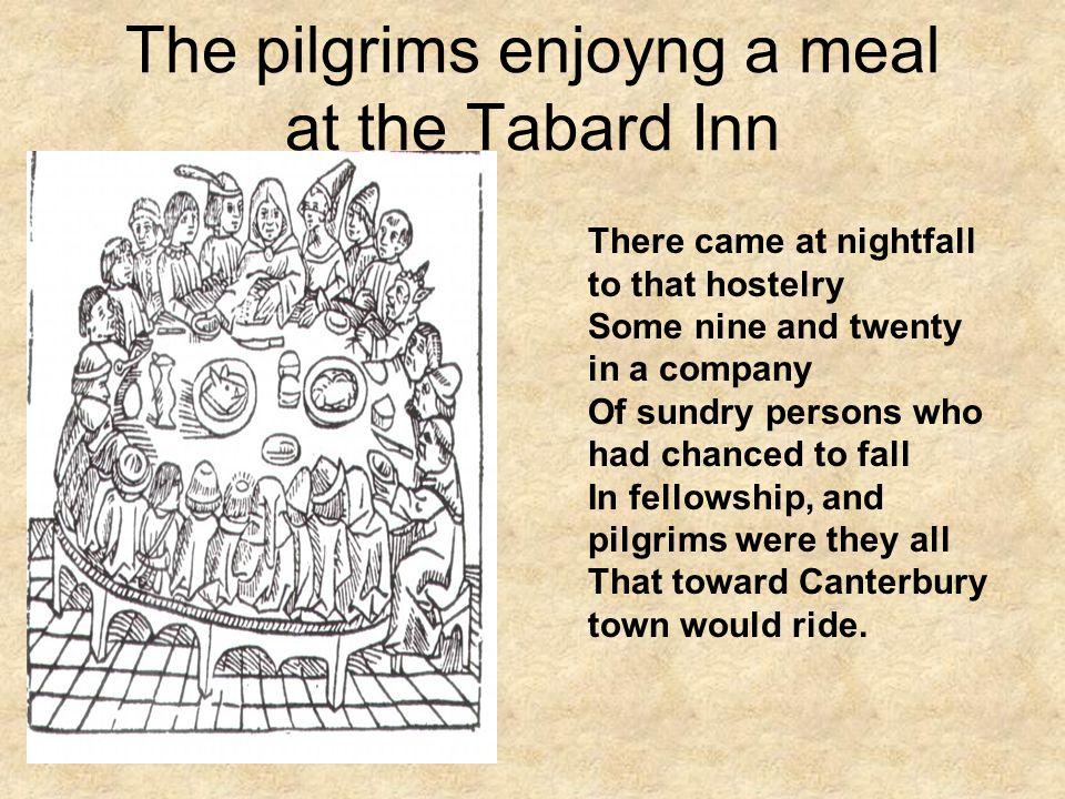 The pilgrims enjoyng a meal at the Tabard Inn