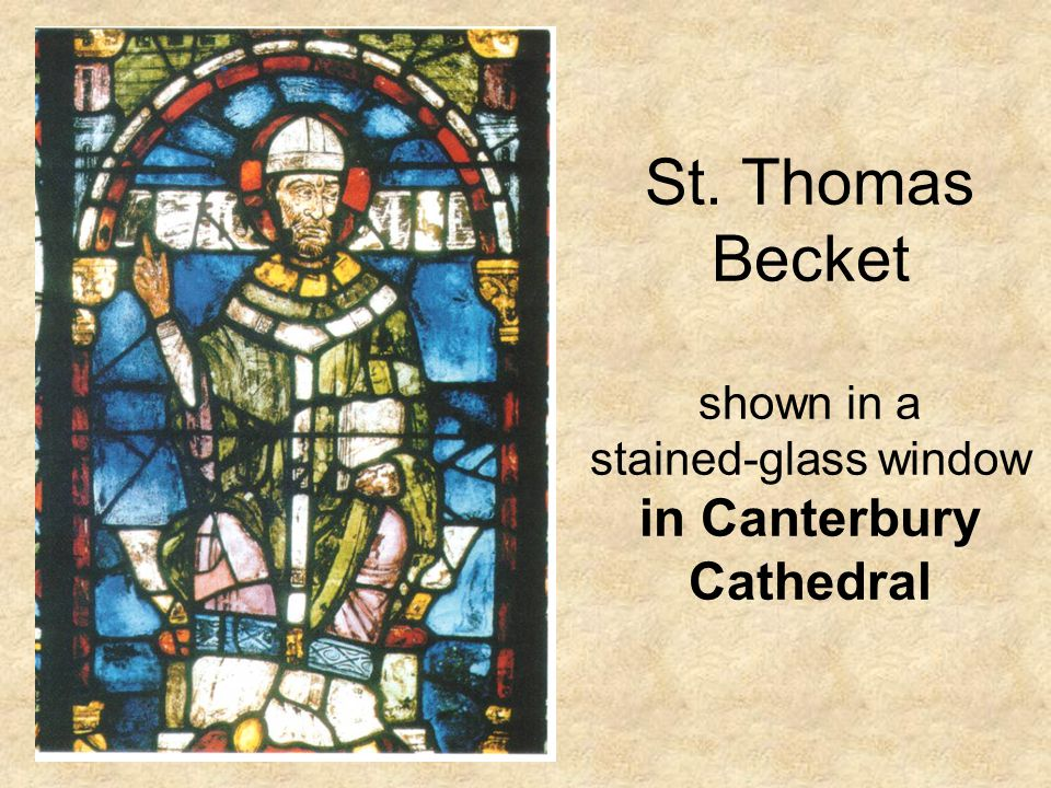 St. Thomas Becket shown in a stained-glass window in Canterbury Cathedral