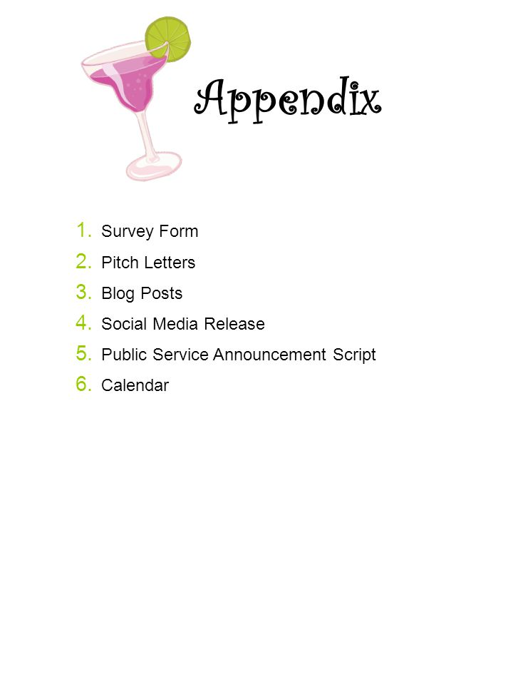 Appendix Survey Form Pitch Letters Blog Posts Social Media Release