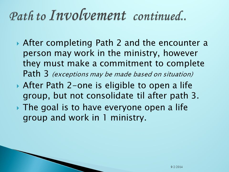 Path to Involvement continued..