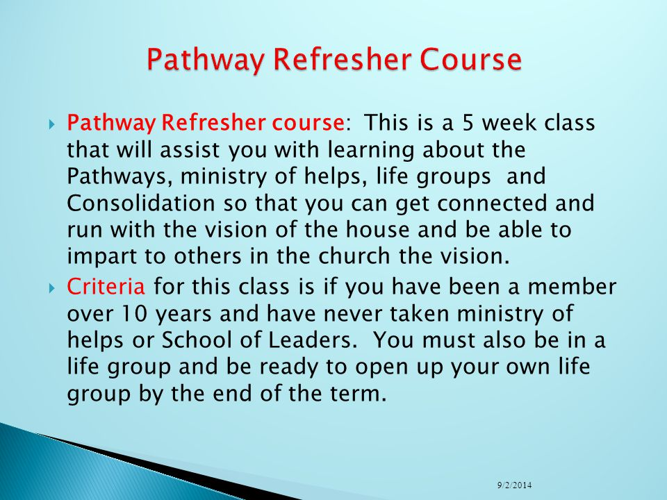 Pathway Refresher Course