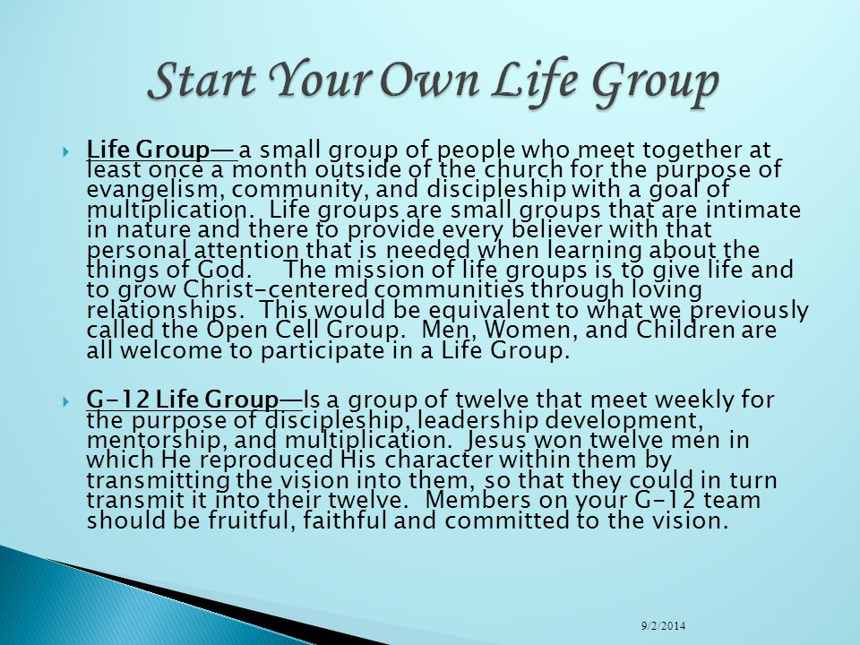 Start Your Own Life Group