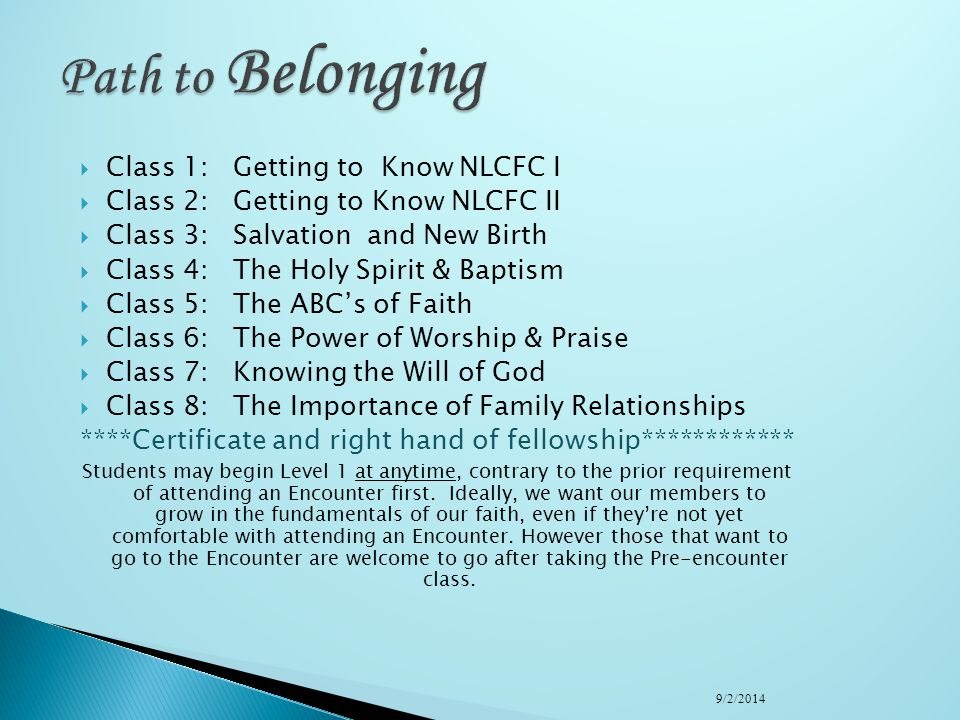 Path to Belonging Class 1: Getting to Know NLCFC I