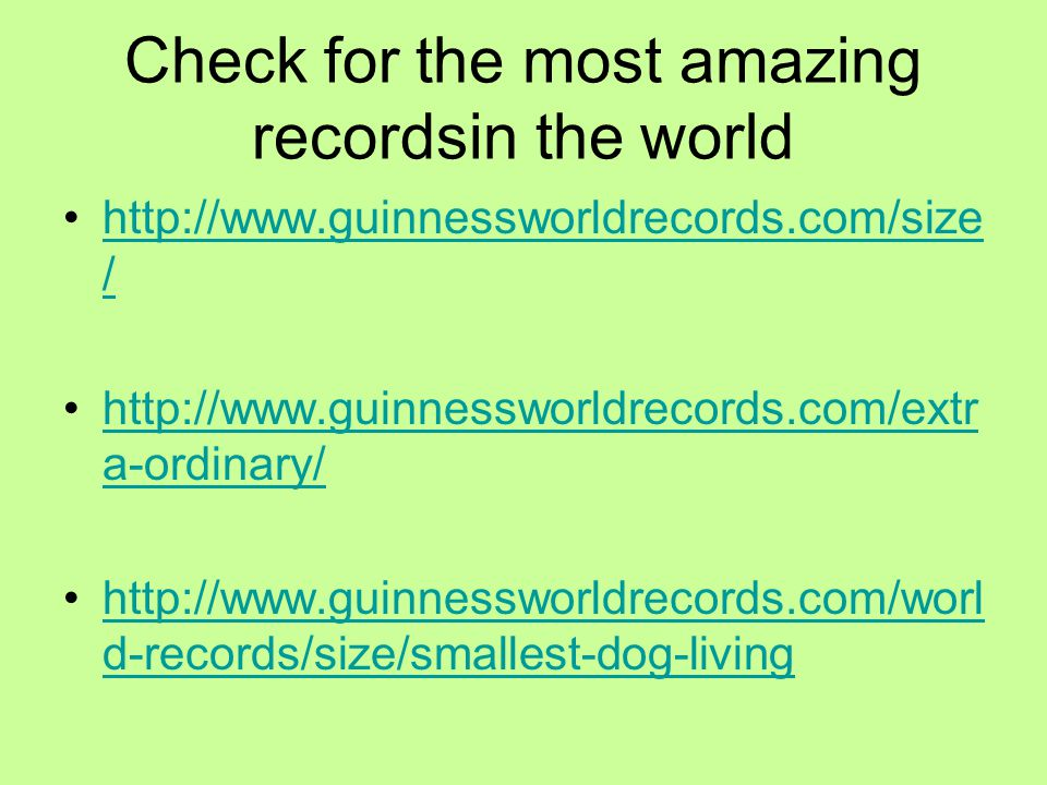 Check for the most amazing recordsin the world