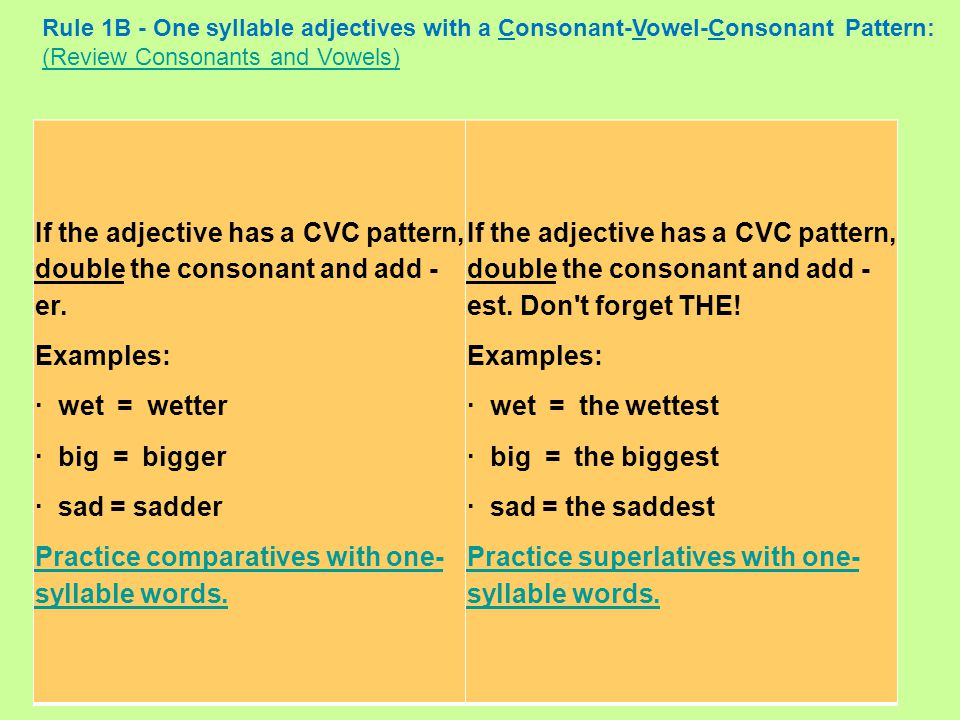 If the adjective has a CVC pattern, double the consonant and add - er.
