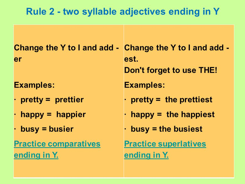 Rule 2 - two syllable adjectives ending in Y