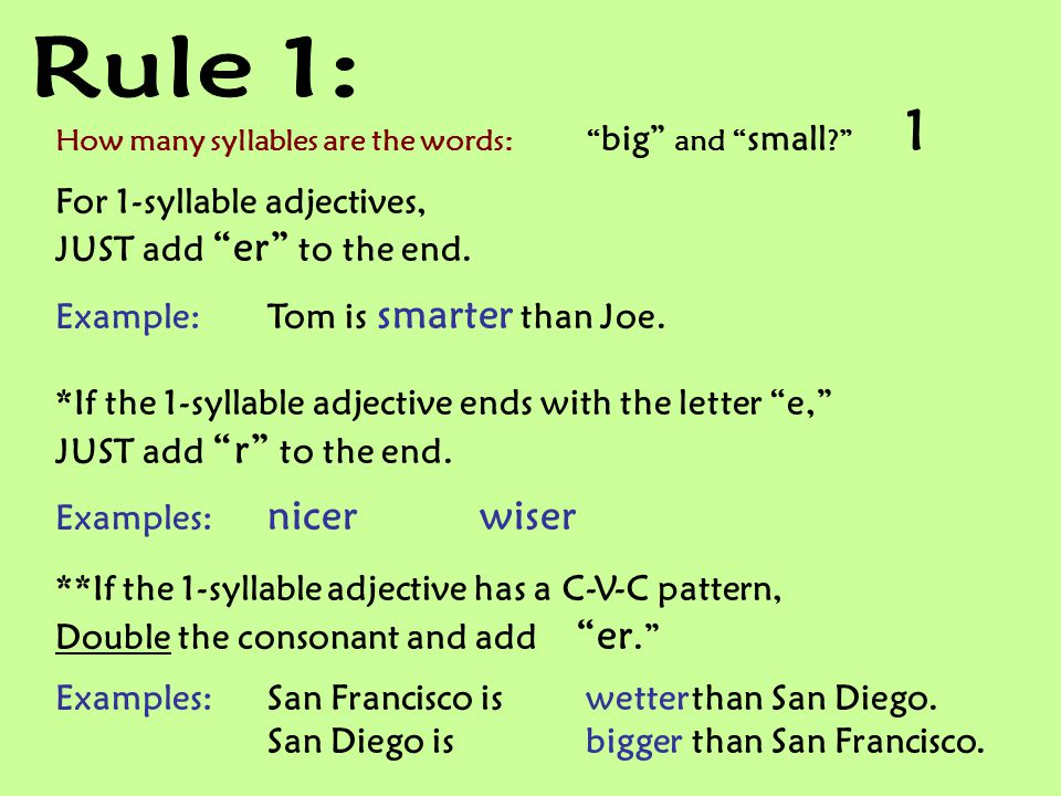 Rule 1: For 1-syllable adjectives, JUST add er to the end.