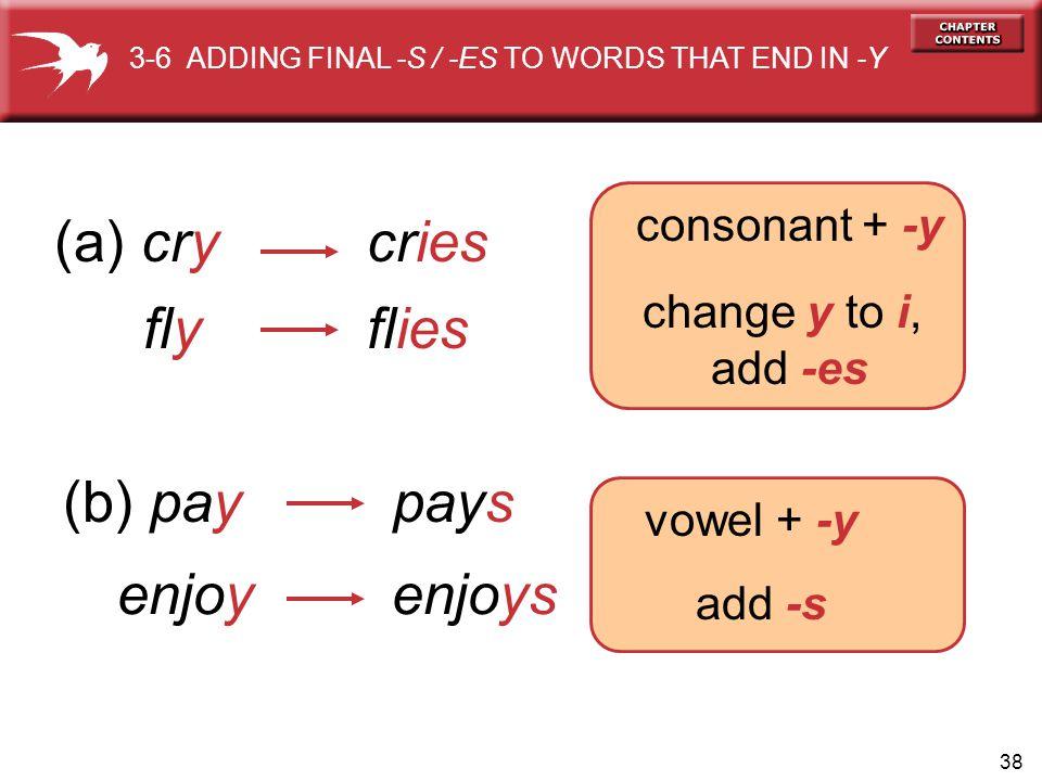 (a) cry cries fly flies (b) pay pays enjoy enjoys consonant + -y