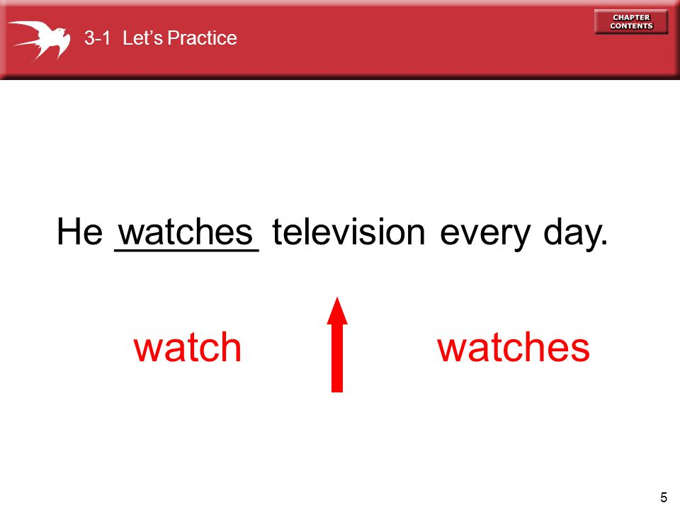 watch watches He _______ television every day. watches