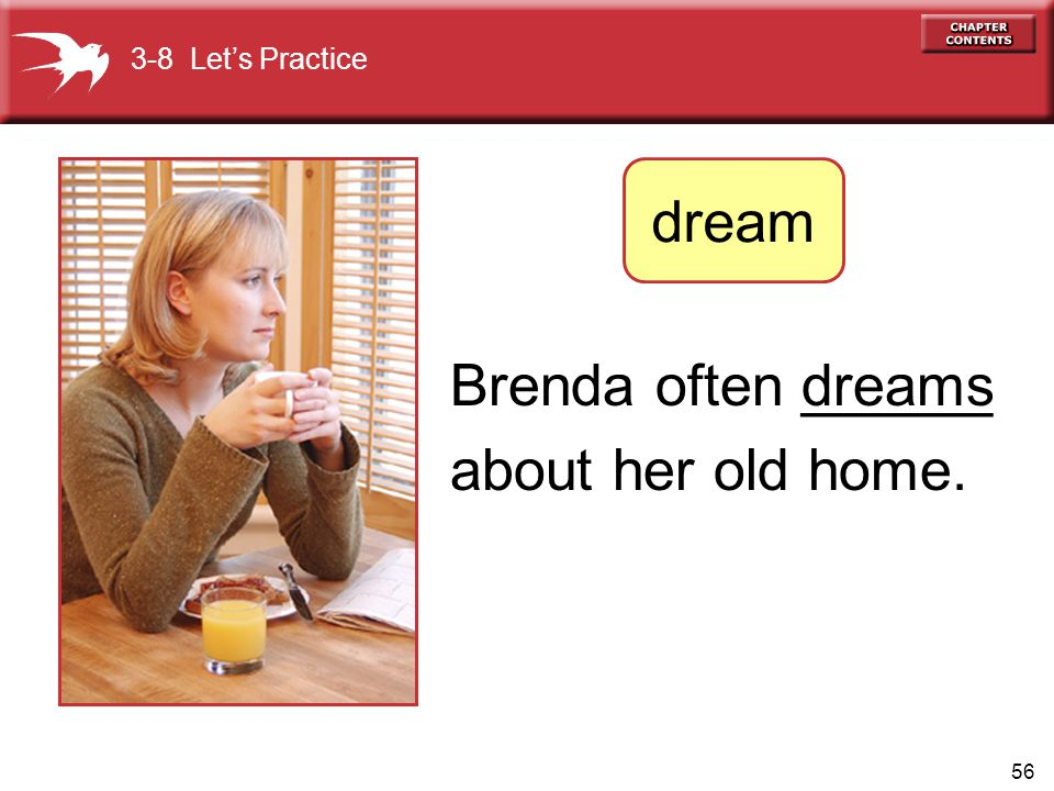 dream Brenda often ______ about her old home. dreams