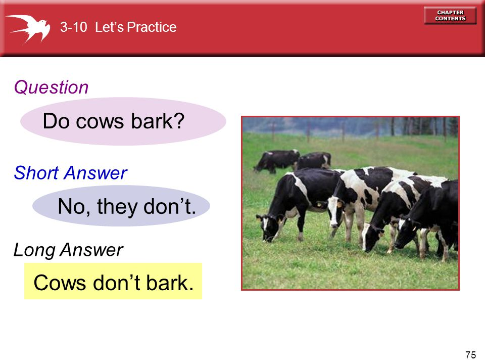 Do cows bark No, they don't. Cows don't bark. Question Short Answer