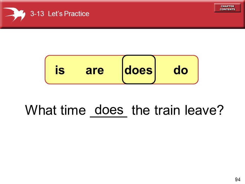 What time _____ the train leave does
