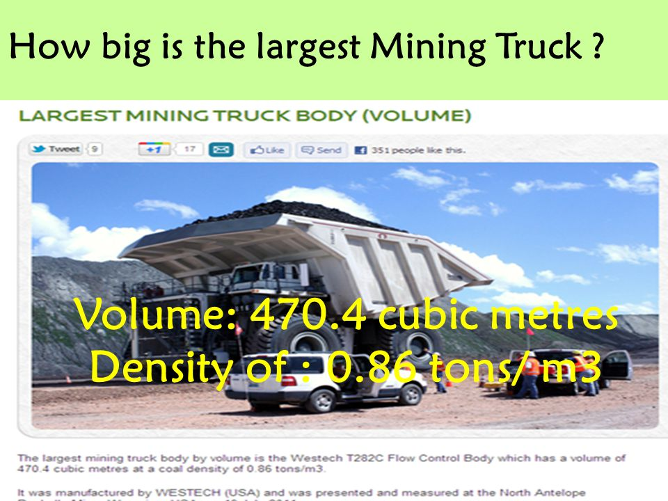 Volume: 470.4 cubic metres Density of : 0.86 tons/ m3