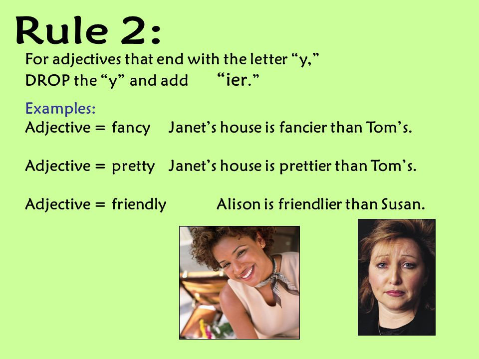 Rule 2: For adjectives that end with the letter y,