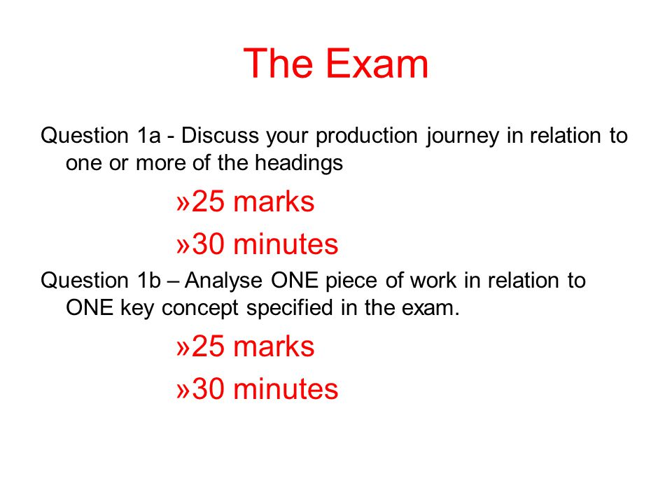 The Exam Question 1a - Discuss your production journey in relation to one or more of the headings. 25 marks.