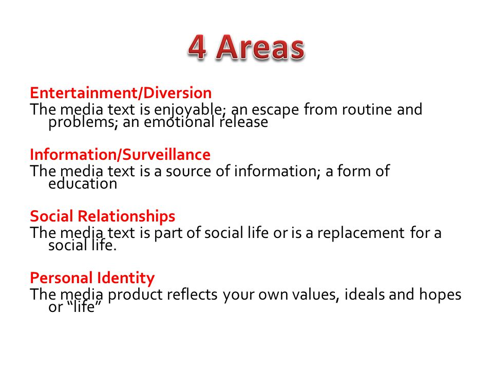 4 Areas Entertainment/Diversion