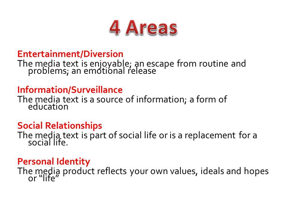 4 Areas Entertainment/Diversion