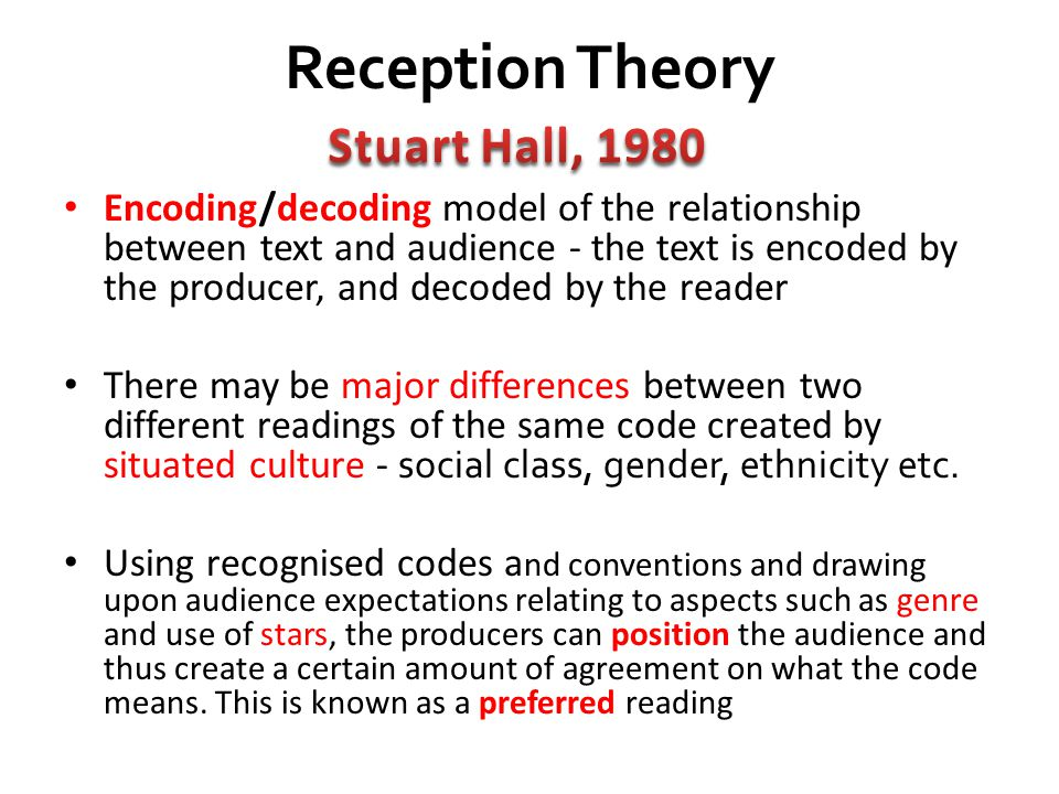 Reception Theory Stuart Hall, 1980