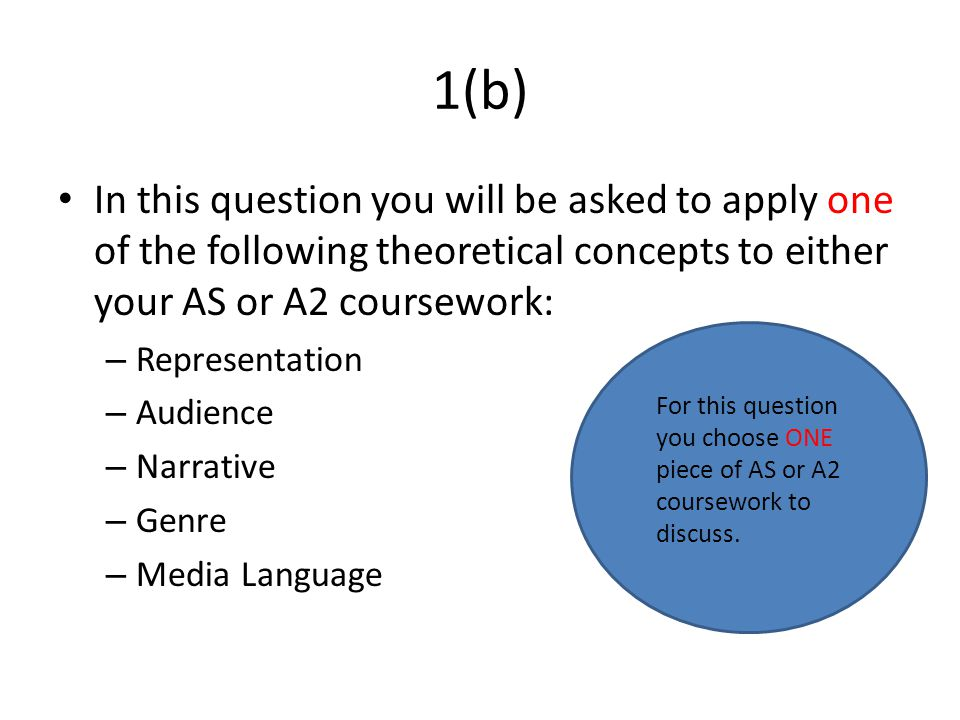 1(b) In this question you will be asked to apply one of the following theoretical concepts to either your AS or A2 coursework: