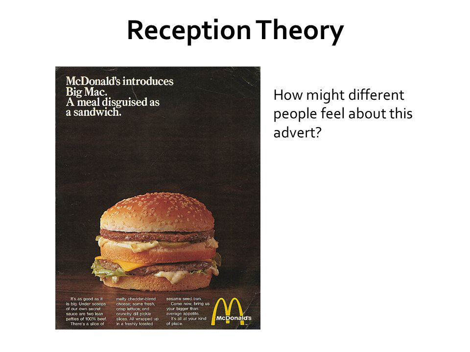 Reception Theory How might different people feel about this advert