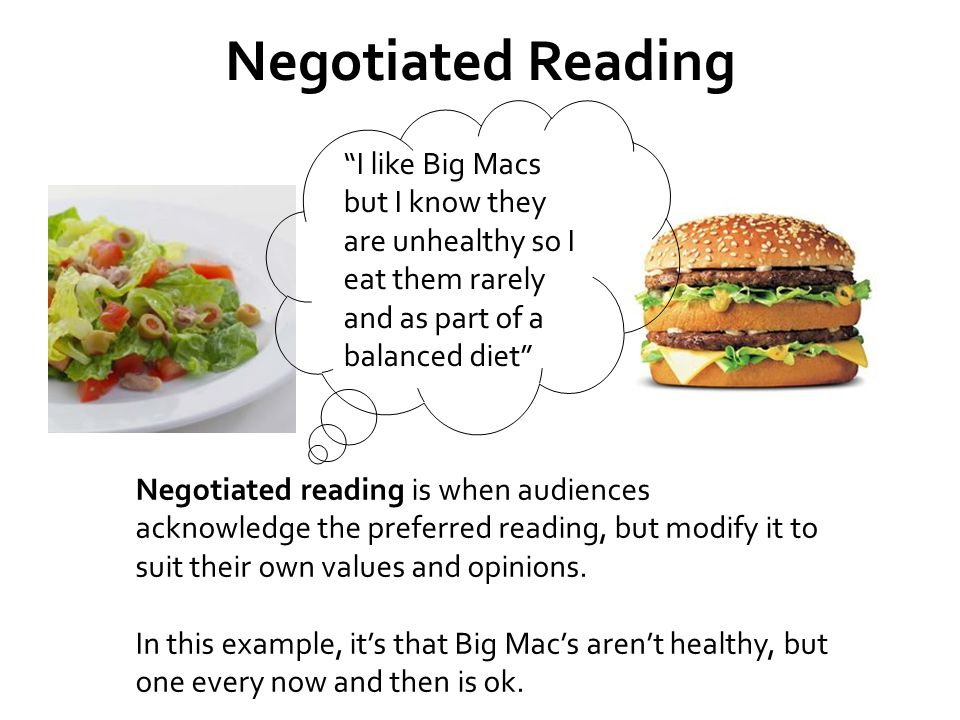 Negotiated Reading I like Big Macs but I know they are unhealthy so I eat them rarely and as part of a balanced diet