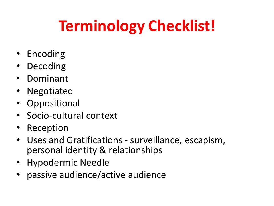 Terminology Checklist!
