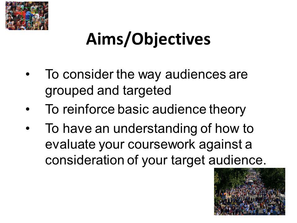 Aims/Objectives To consider the way audiences are grouped and targeted