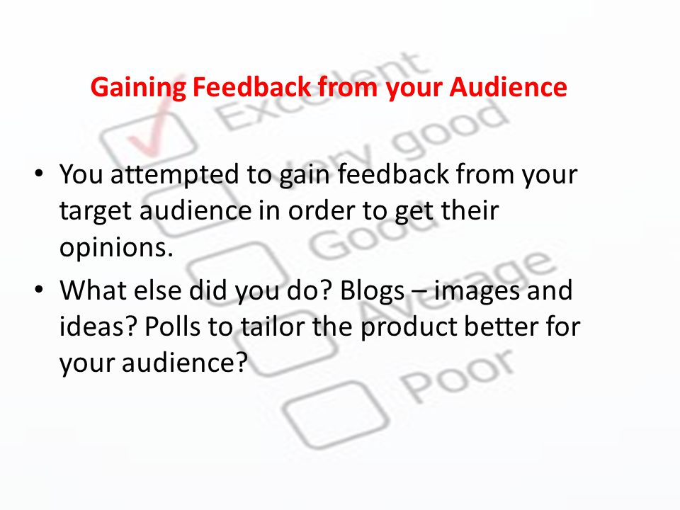 Gaining Feedback from your Audience